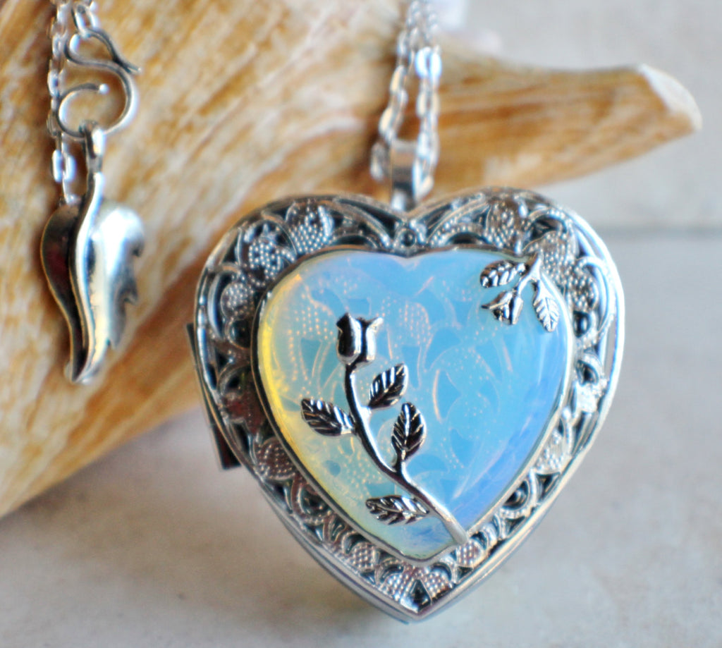 White Opal Quartz Music Box Locket - Char's Favorite Things - 1