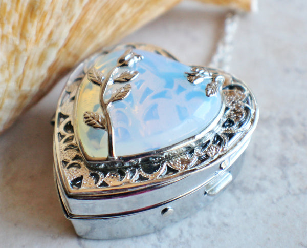 White Opal Quartz Music Box Locket - Char's Favorite Things - 2