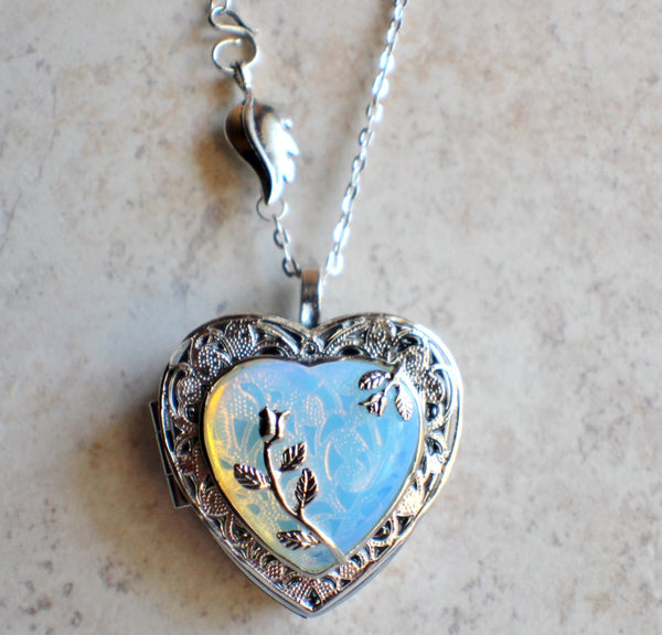 White Opal Quartz Music Box Locket - Char's Favorite Things - 4