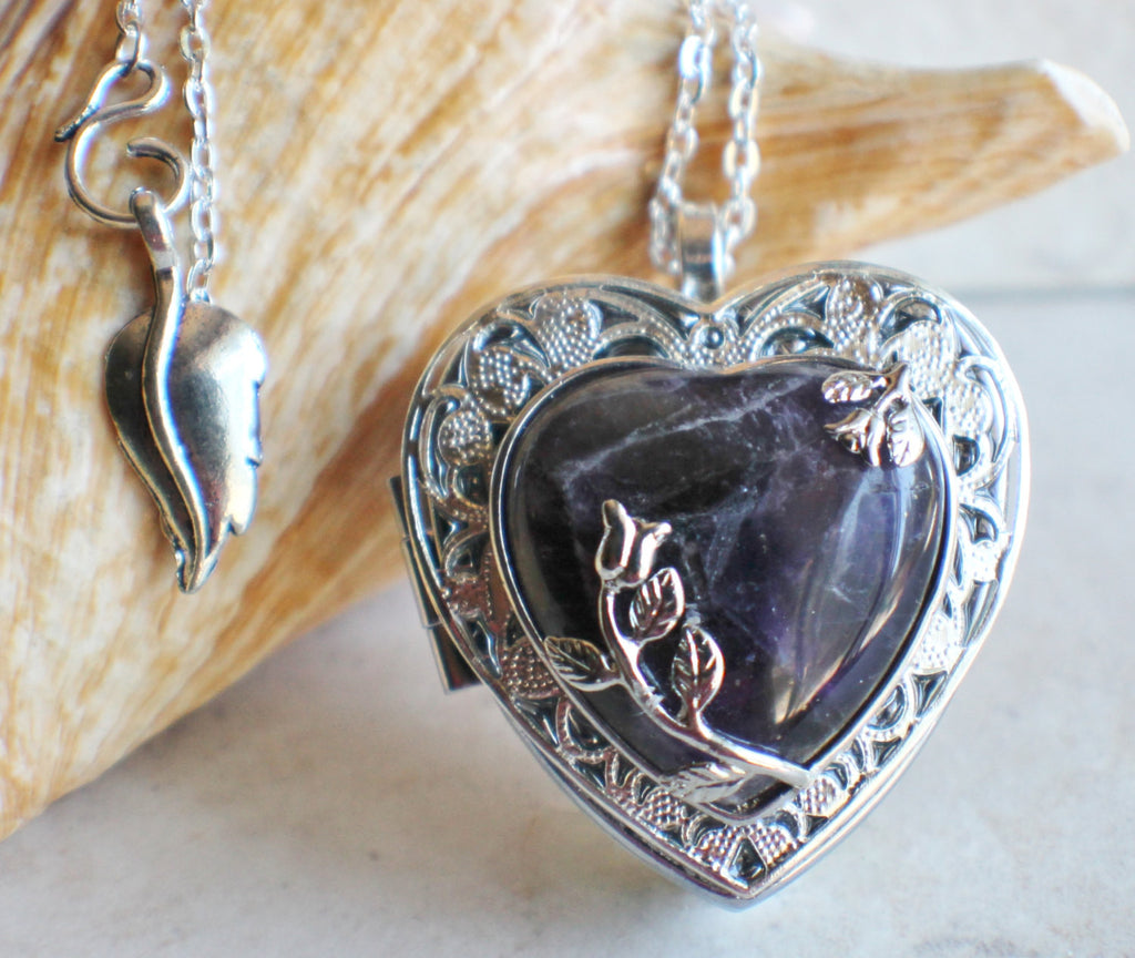 Amethyst Quartz Music Box Locket - Char's Favorite Things - 1