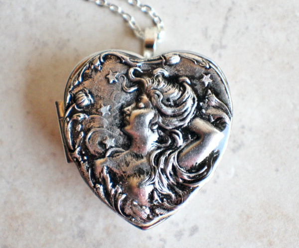 Victorian Maiden Music Box Locket In Silver - Char's Favorite Things - 3