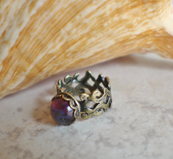 Dragons Breath Glass Opal Ring
