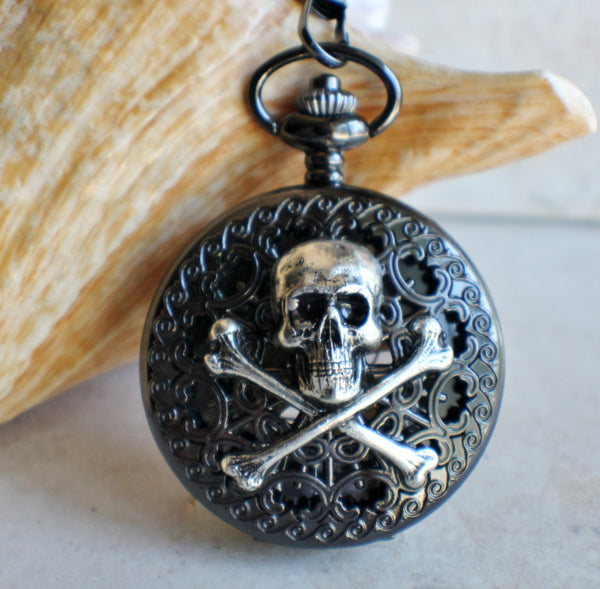 Black Skull and Crossbones Mechanical Pocket Watch - Char's Favorite Things - 1