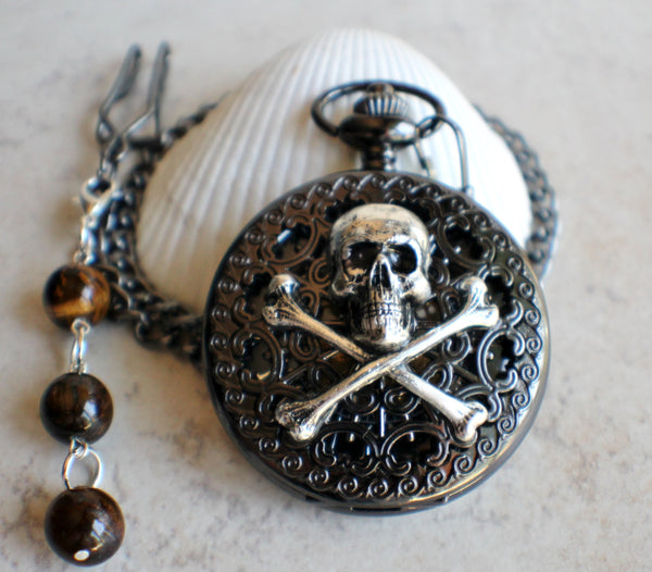 Black Skull and Crossbones Mechanical Pocket Watch - Char's Favorite Things - 2