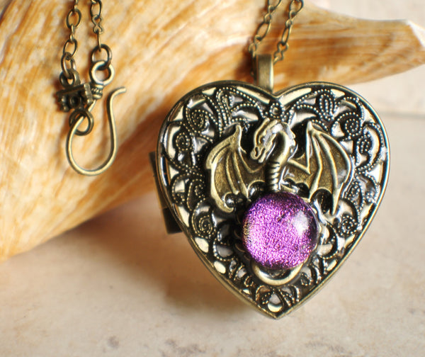 Dragon music box locket in bronze