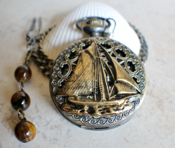 Sailboat mechanical pocket watch with sail boat