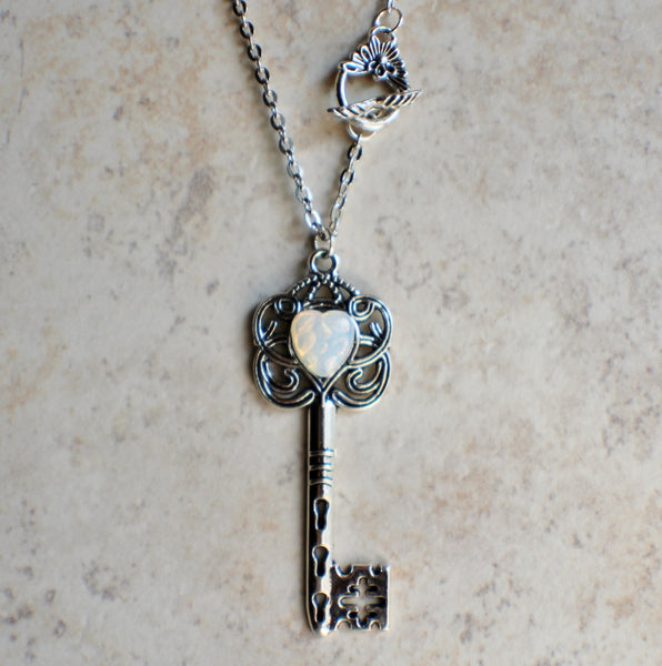 Victorian Skeleton Key Necklace withGerman White Opal