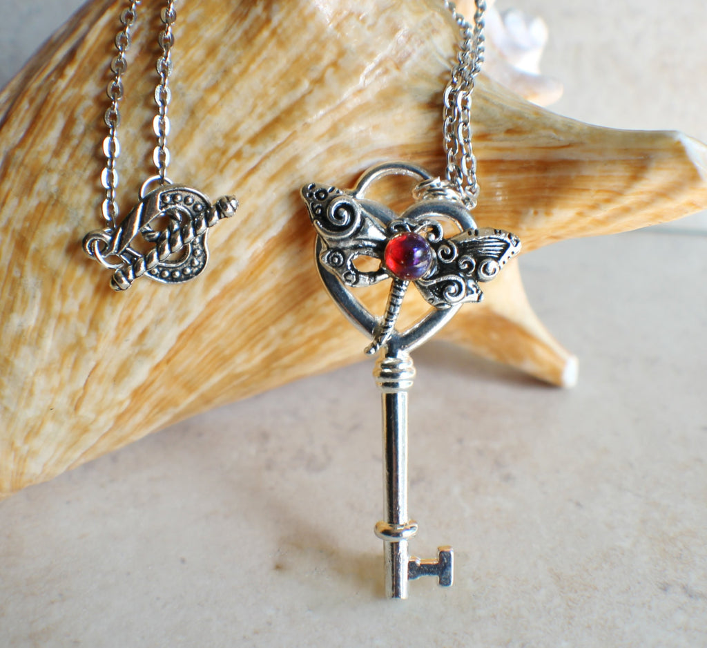 Dragonfly Skeleton Key Necklace