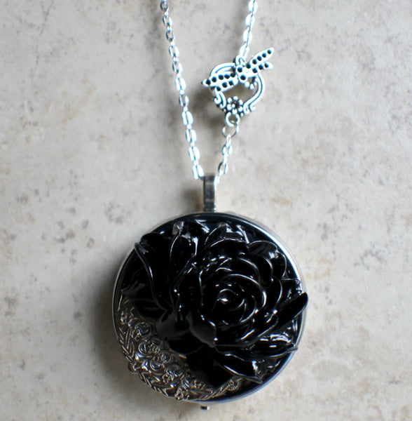 Black Rose Music Box Locket in Silvertone