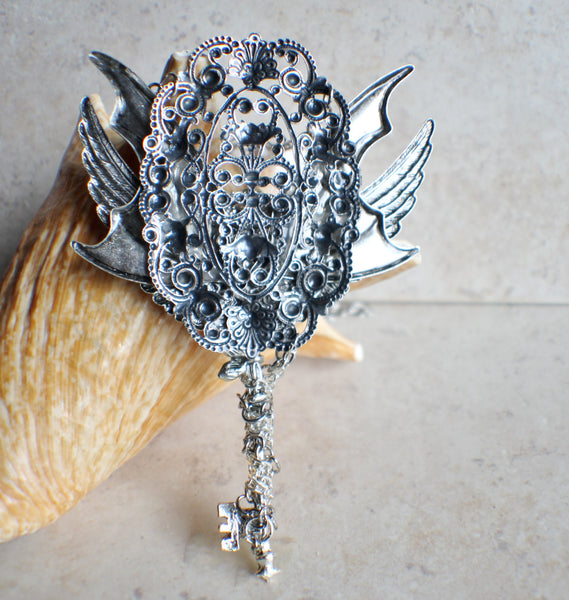 Winged Fantasy Skeleton Key with Glass Jewel