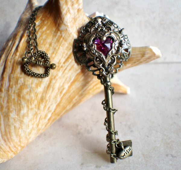 Victorian skeleton key necklace with  an amethyst crystal heart