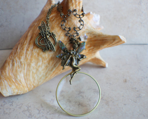 Magnifying Glass Pendant with Fairy