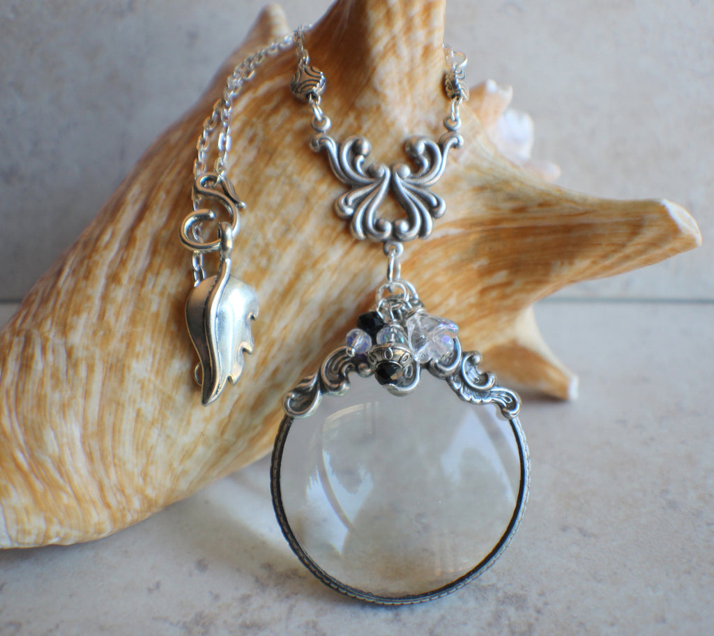 Victorian Scroll Magnifying Glass Pendant