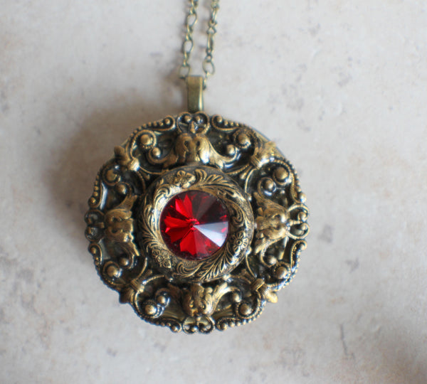 Red Crystal Music  Box Locket