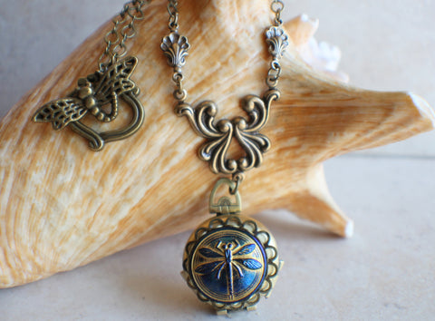 Blue Dragonfly Multi Photo Locket