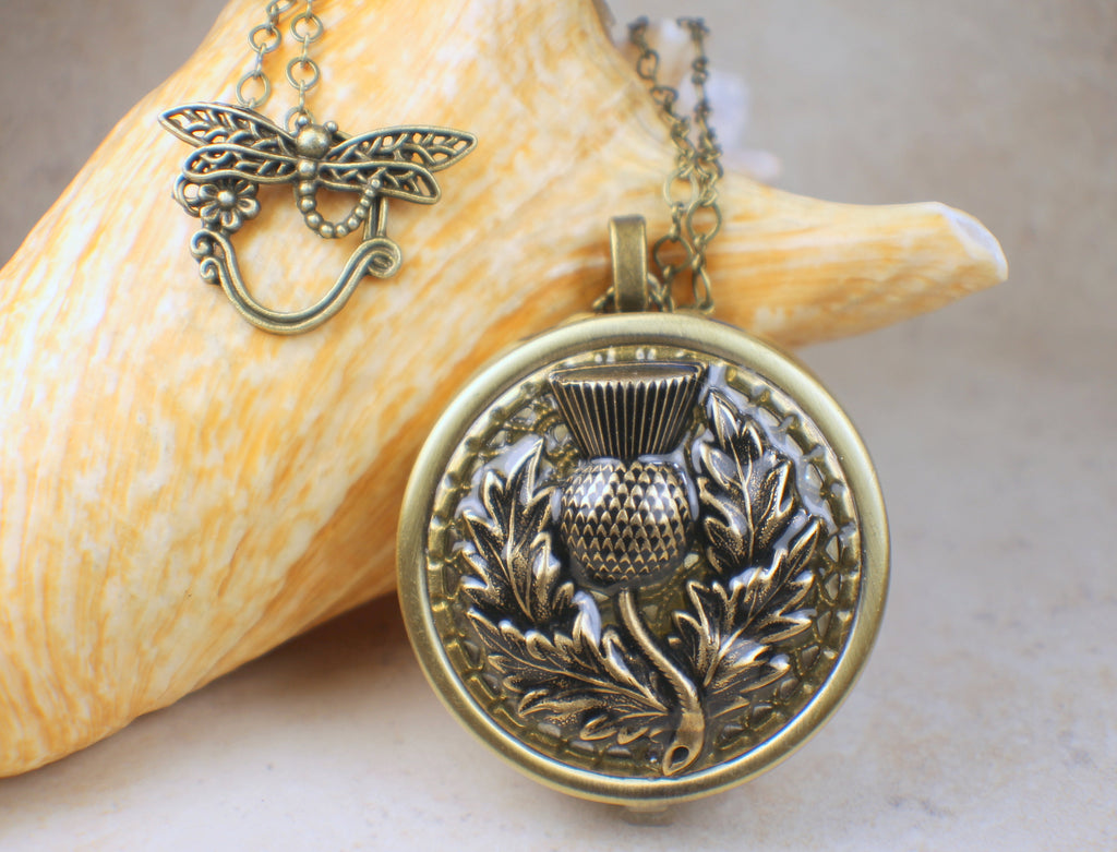 Thistle Music Box Locket in Bronze