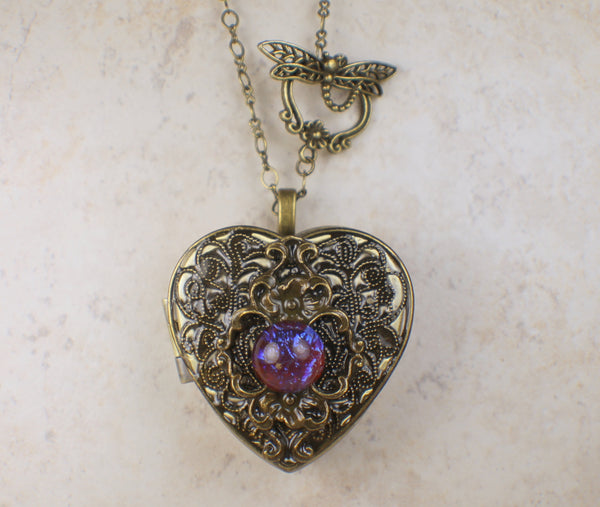 Dragons Breath Floral Music Box Locket in Bronze
