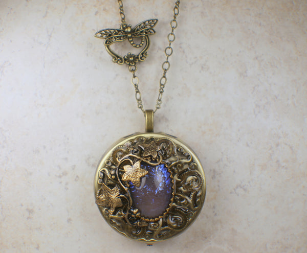 Round Blue Dragon's Breath Music Box Locket
