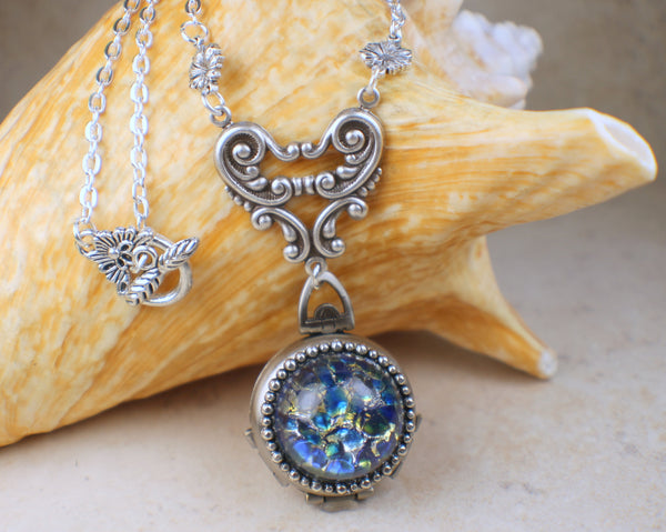 Blue Fire Opal Silver Four Photo Locket