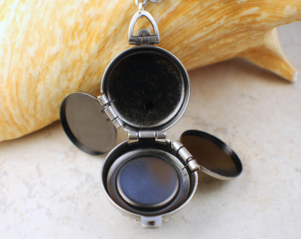 Mexican Fire Opal Four Photo Locket in Silver