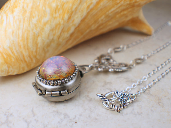 Pink Fire Opal Silver Four Photo Locket