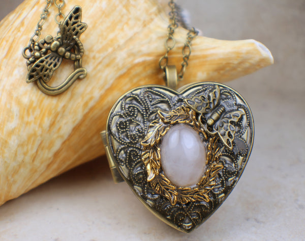 Rose Quartz Heart Music Box Locket in Bronze
