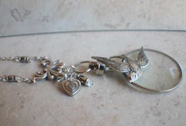 Silver Dove Magnifying Glass Pendant