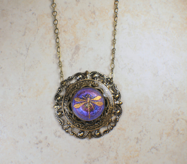 Round Purple Dragonfly Pendant with Czech Button