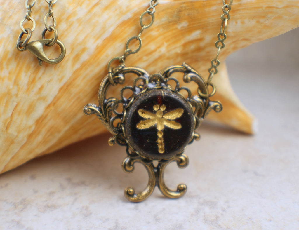 Heart Dragonfly Pendant