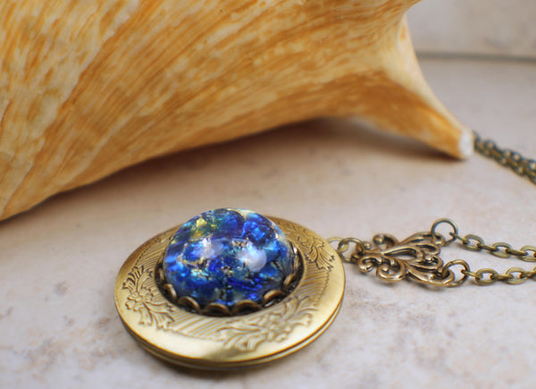 Sapphire Blue Glass Fire Opal Photo Locket