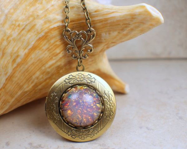 Pink Glass Fire Opal Photo Locket