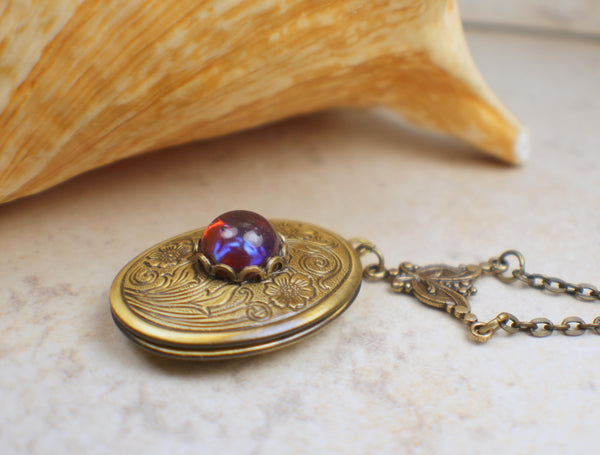 Oval Red Dragons Breath Photo Locket