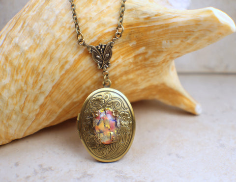 Red and Gold Harlequin Photo Locket