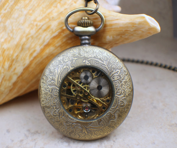 Bear Pocket Watch In Bronze