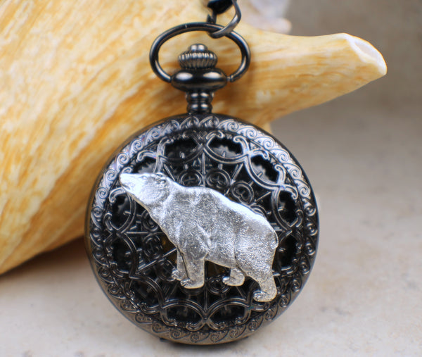 Silver Bear Black Pocket Watch