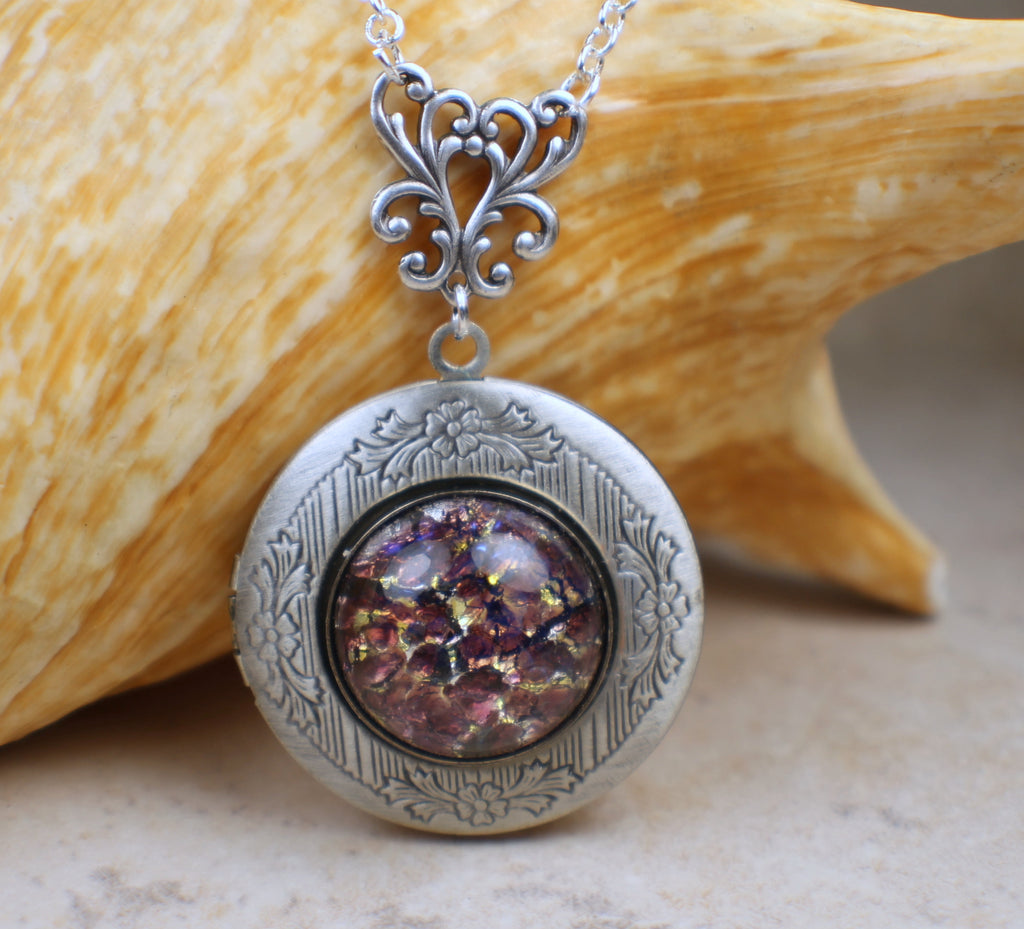 Amethyst Glass Fire Opal Locket in Silver
