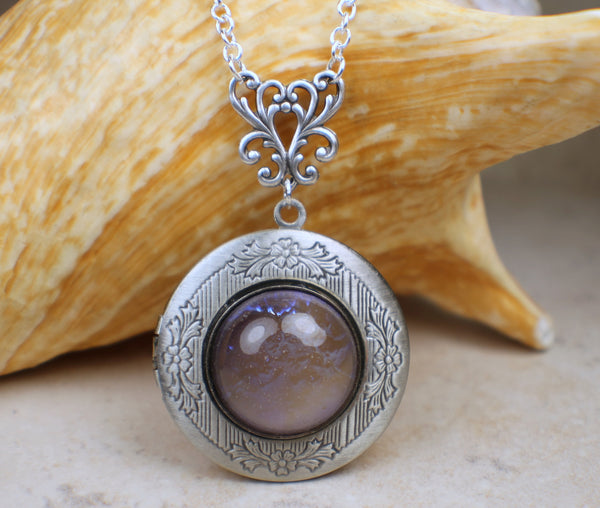 Blue Dragons Breath Opal Photo Locket In Silver