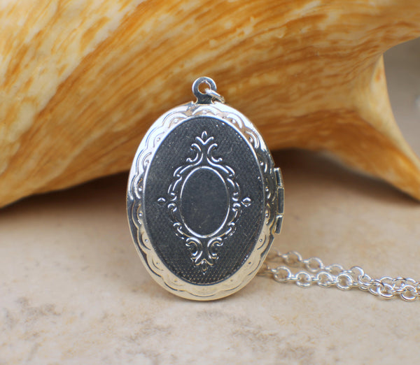 Pink Agate Photo Locket In Silver