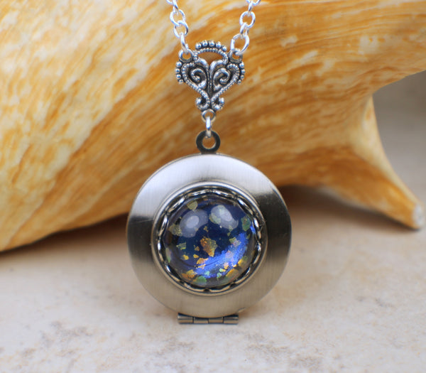 Blue Glass Opal Photo Locket in Silver