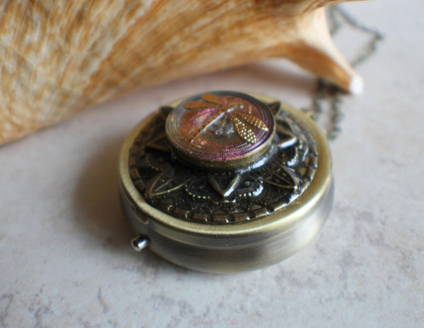 Round Czech Glass Music Box Locket