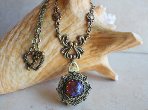 Red Mexican Fire Opal Photo Locket