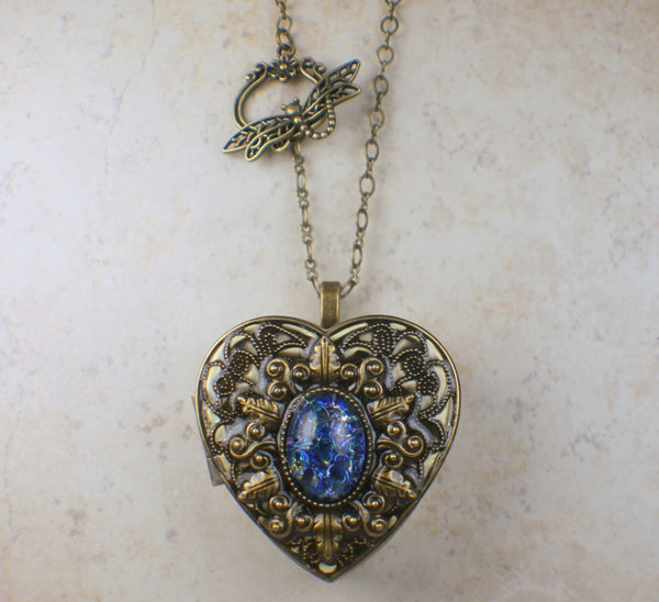 Sapphire Blue Opal Music Box Locket