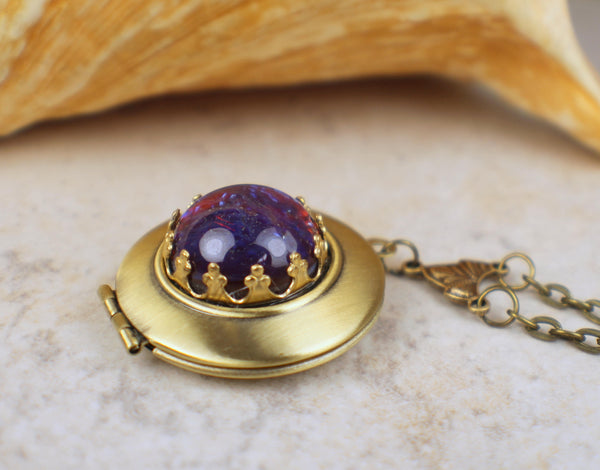 Small Dragons Breath Opal Photo Locket