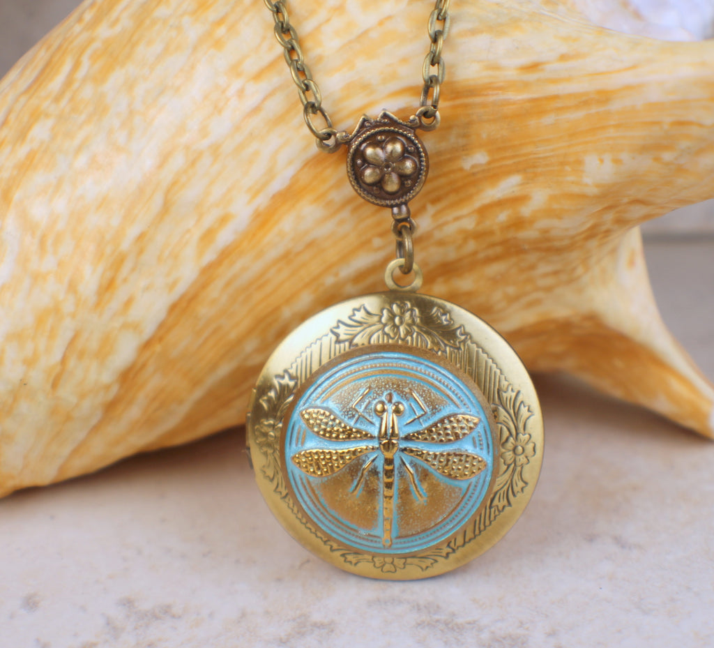 Aqua Dragonfly Photo Locket