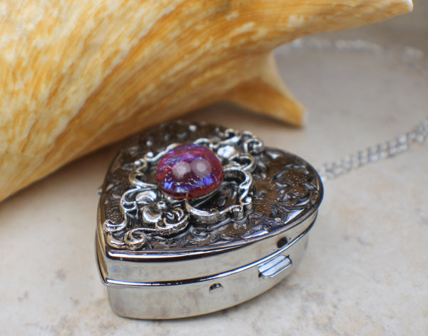 Silver Dragons Breath Floral Music Box Locket