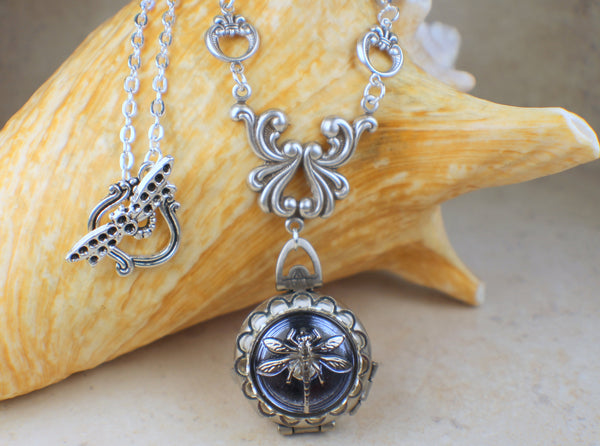 Dragonfly Four Photo Locket in Silver