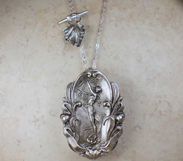Goddess and Harp Music Box Locket in Silver