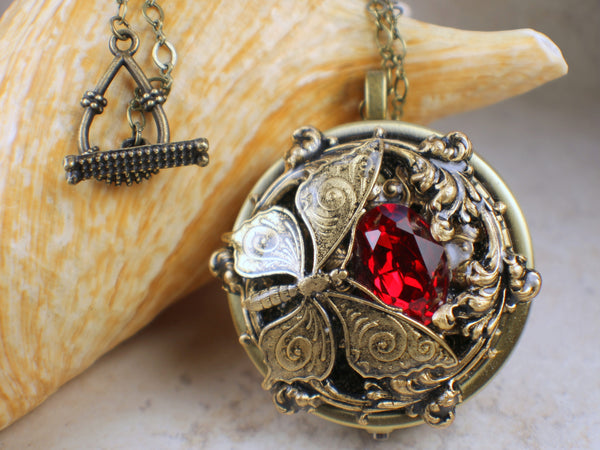 Crystal Butterfly Music Box Locket,