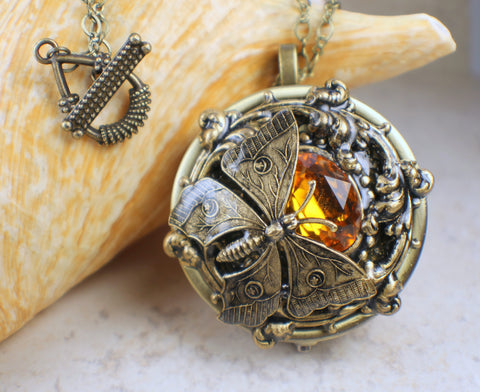 Music box lockets chars favorite things amber crystal butterfly music box locket aloadofball Gallery