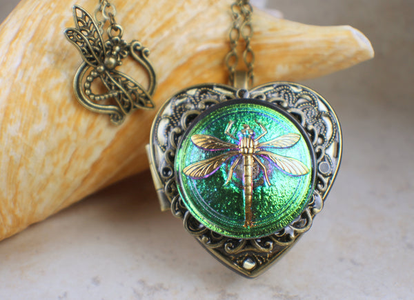 Green Czech Glass Dragonfly Music Box Locket